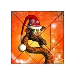 Funny Cute Christmas Giraffe With Christmas Hat Acrylic Tangram Puzzle (4  X 4 )