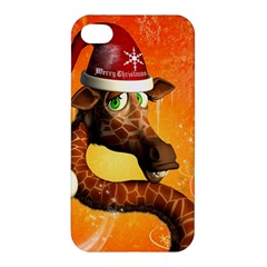 Funny Cute Christmas Giraffe With Christmas Hat Apple iPhone 4/4S Premium Hardshell Case