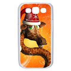 Funny Cute Christmas Giraffe With Christmas Hat Samsung Galaxy S III Case (White)