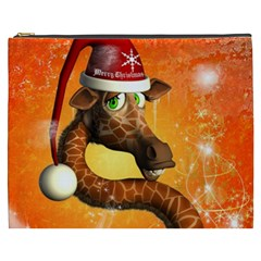 Funny Cute Christmas Giraffe With Christmas Hat Cosmetic Bag (XXXL)