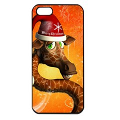 Funny Cute Christmas Giraffe With Christmas Hat Apple iPhone 5 Seamless Case (Black)