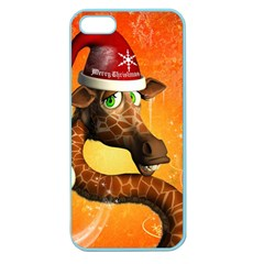 Funny Cute Christmas Giraffe With Christmas Hat Apple Seamless iPhone 5 Case (Color)