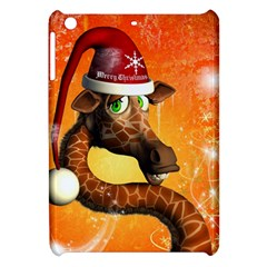 Funny Cute Christmas Giraffe With Christmas Hat Apple iPad Mini Hardshell Case