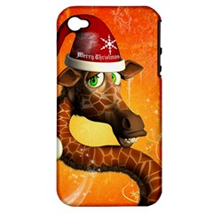 Funny Cute Christmas Giraffe With Christmas Hat Apple iPhone 4/4S Hardshell Case (PC+Silicone)
