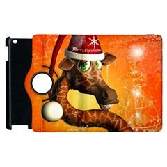 Funny Cute Christmas Giraffe With Christmas Hat Apple iPad 3/4 Flip 360 Case