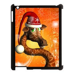 Funny Cute Christmas Giraffe With Christmas Hat Apple iPad 3/4 Case (Black)