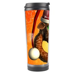 Funny Cute Christmas Giraffe With Christmas Hat Travel Tumblers