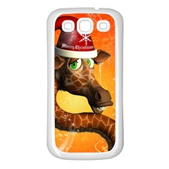 Funny Cute Christmas Giraffe With Christmas Hat Samsung Galaxy S3 Back Case (White)