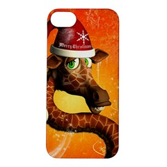 Funny Cute Christmas Giraffe With Christmas Hat Apple iPhone 5S Hardshell Case