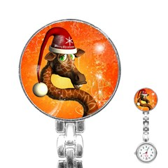Funny Cute Christmas Giraffe With Christmas Hat Stainless Steel Nurses Watches