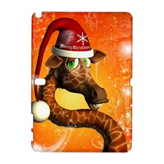Funny Cute Christmas Giraffe With Christmas Hat Samsung Galaxy Note 10.1 (P600) Hardshell Case