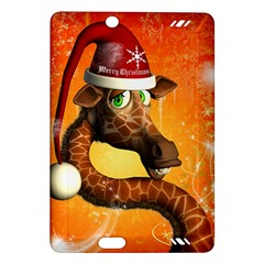 Funny Cute Christmas Giraffe With Christmas Hat Kindle Fire HD (2013) Hardshell Case