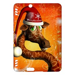 Funny Cute Christmas Giraffe With Christmas Hat Kindle Fire HDX Hardshell Case