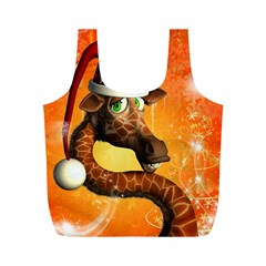 Funny Cute Christmas Giraffe With Christmas Hat Full Print Recycle Bags (M)