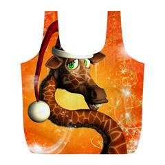 Funny Cute Christmas Giraffe With Christmas Hat Full Print Recycle Bags (L)