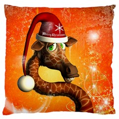 Funny Cute Christmas Giraffe With Christmas Hat Large Flano Cushion Cases (One Side)
