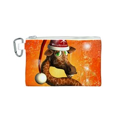 Funny Cute Christmas Giraffe With Christmas Hat Canvas Cosmetic Bag (S)