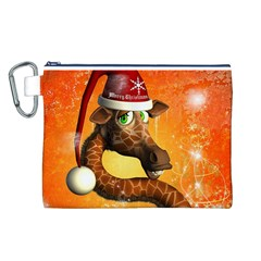 Funny Cute Christmas Giraffe With Christmas Hat Canvas Cosmetic Bag (L)
