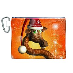 Funny Cute Christmas Giraffe With Christmas Hat Canvas Cosmetic Bag (XL)