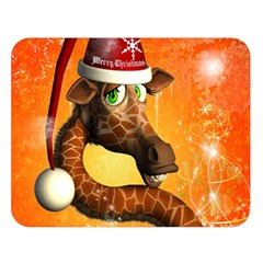 Funny Cute Christmas Giraffe With Christmas Hat Double Sided Flano Blanket (Large)