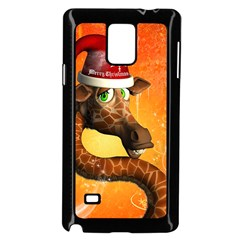 Funny Cute Christmas Giraffe With Christmas Hat Samsung Galaxy Note 4 Case (Black)