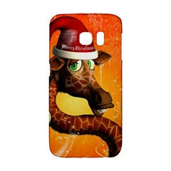 Funny Cute Christmas Giraffe With Christmas Hat Galaxy S6 Edge