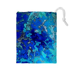 Cocos blue lagoon Drawstring Pouches (Large)