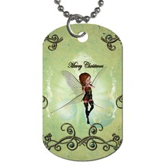 Cute Elf Playing For Christmas Dog Tag (Two Sides)