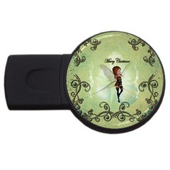 Cute Elf Playing For Christmas USB Flash Drive Round (4 GB)