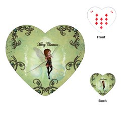 Cute Elf Playing For Christmas Playing Cards (Heart)