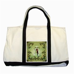 Cute Elf Playing For Christmas Two Tone Tote Bag