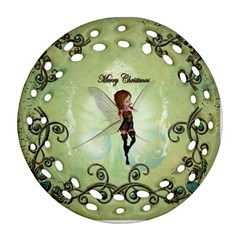 Cute Elf Playing For Christmas Ornament (Round Filigree)