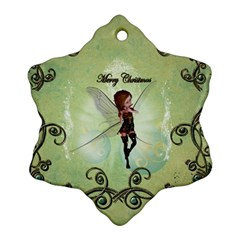 Cute Elf Playing For Christmas Snowflake Ornament (2 Side)