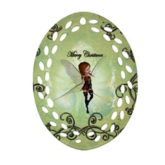 Cute Elf Playing For Christmas Ornament (oval Filigree)