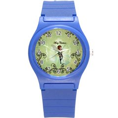 Cute Elf Playing For Christmas Round Plastic Sport Watch (S)