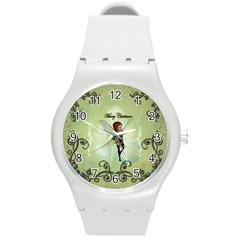 Cute Elf Playing For Christmas Round Plastic Sport Watch (M)