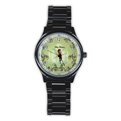 Cute Elf Playing For Christmas Stainless Steel Round Watches