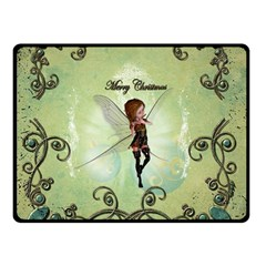 Cute Elf Playing For Christmas Double Sided Fleece Blanket (Small)