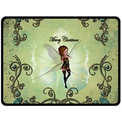 Cute Elf Playing For Christmas Double Sided Fleece Blanket (Large)