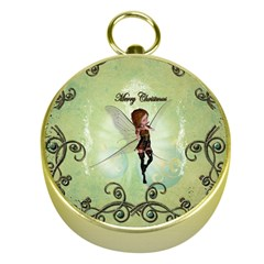 Cute Elf Playing For Christmas Gold Compasses