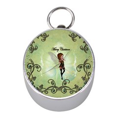 Cute Elf Playing For Christmas Mini Silver Compasses