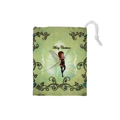 Cute Elf Playing For Christmas Drawstring Pouches (Small)