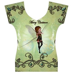 Cute Elf Playing For Christmas Women s V-Neck Cap Sleeve Top