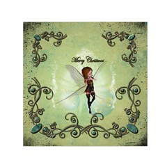 Cute Elf Playing For Christmas Small Satin Scarf (Square)
