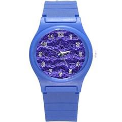 Alien Skin Blue Round Plastic Sport Watch (S)