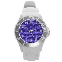 Alien Skin Blue Round Plastic Sport Watch (L)