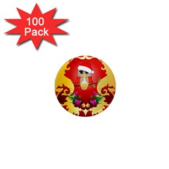 Funny, Cute Christmas Owl  With Christmas Hat 1  Mini Magnets (100 pack)