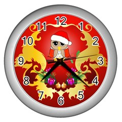 Funny, Cute Christmas Owl  With Christmas Hat Wall Clocks (silver)