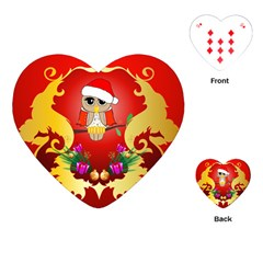 Funny, Cute Christmas Owl  With Christmas Hat Playing Cards (heart)