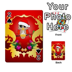 Funny, Cute Christmas Owl  With Christmas Hat Playing Cards 54 Designs